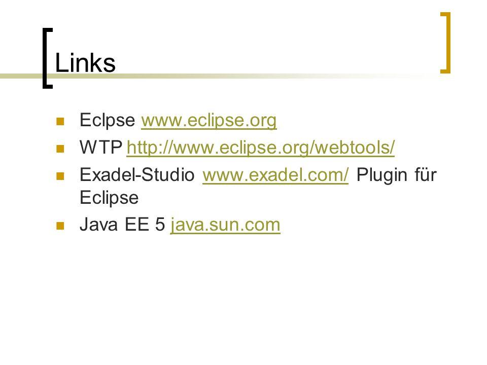 Links Eclpse www.eclipse.orgwww.eclipse.org WTP http://www.eclipse.org/webtools/http://www.eclipse.org/webtools/ Exadel-Studio www.exadel.com/ Plugin für Eclipsewww.exadel.com/ Java EE 5 java.sun.comjava.sun.com
