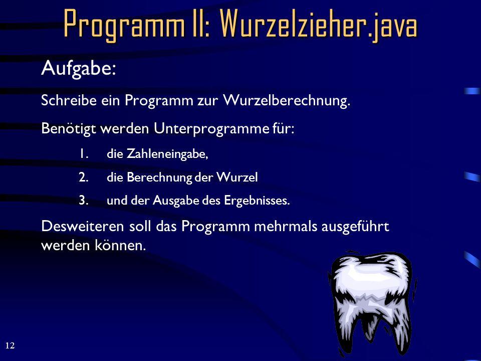 12 Programm II: Wurzelzieher.java Aufgabe: Schreibe ein Programm zur Wurzelberechnung.