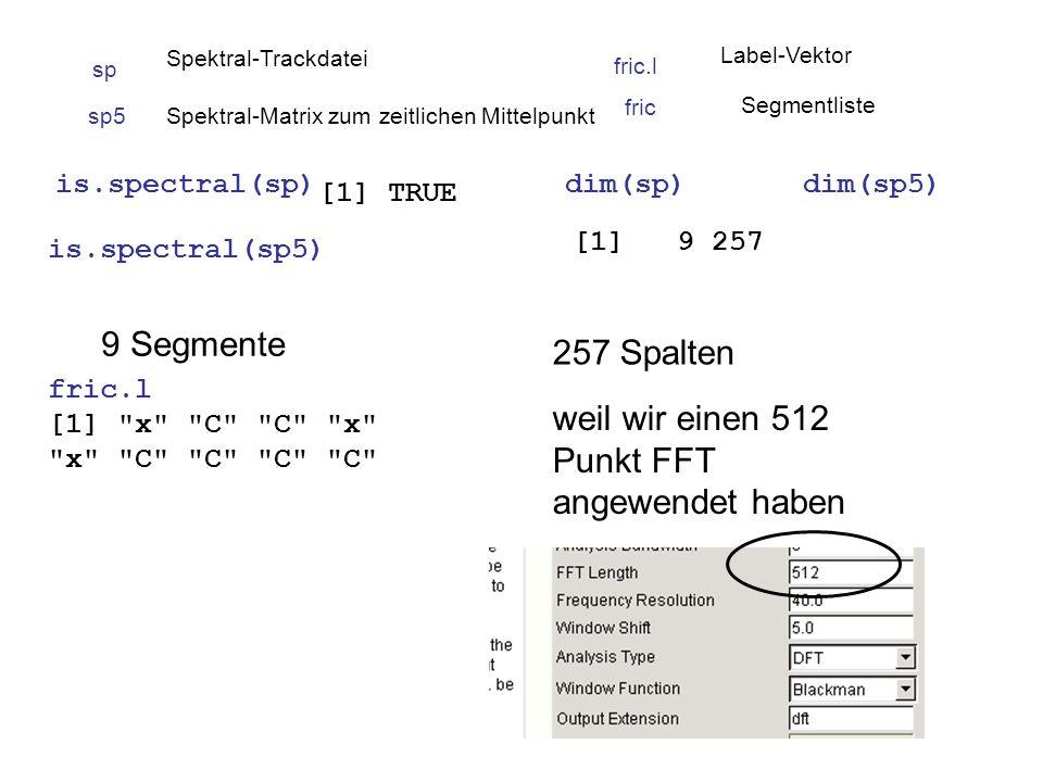 is.spectral(sp) is.spectral(sp5) [1] TRUE dim(sp)dim(sp5) [1] 9 257 sp5Spektral-Matrix zum zeitlichen Mittelpunkt fric.l Label-Vektor sp Spektral-Trackdatei 9 Segmente fric.l [1] x C C x x C C C C 257 Spalten weil wir einen 512 Punkt FFT angewendet haben fric Segmentliste