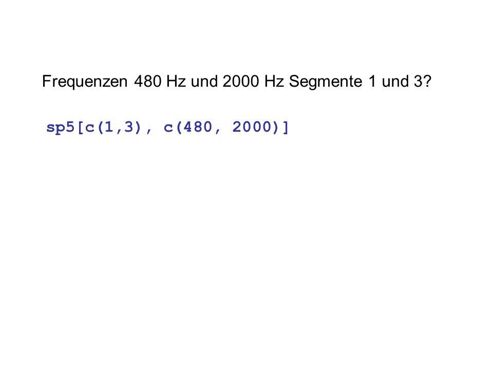 Frequenzen 480 Hz und 2000 Hz Segmente 1 und 3? sp5[c(1,3), c(480, 2000)]