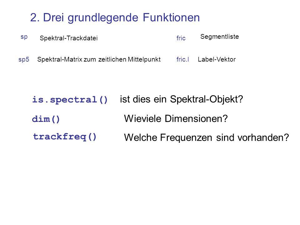 sp5Spektral-Matrix zum zeitlichen Mittelpunktfric.lLabel-Vektor sp Spektral-Trackdatei 2. Drei grundlegende Funktionen is.spectral() ist dies ein Spek