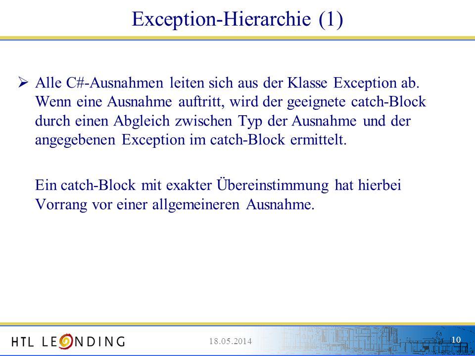 18.05.201410 18.05.2014 10 Exception-Hierarchie (1) Alle C#-Ausnahmen leiten sich aus der Klasse Exception ab. Wenn eine Ausnahme auftritt, wird der g