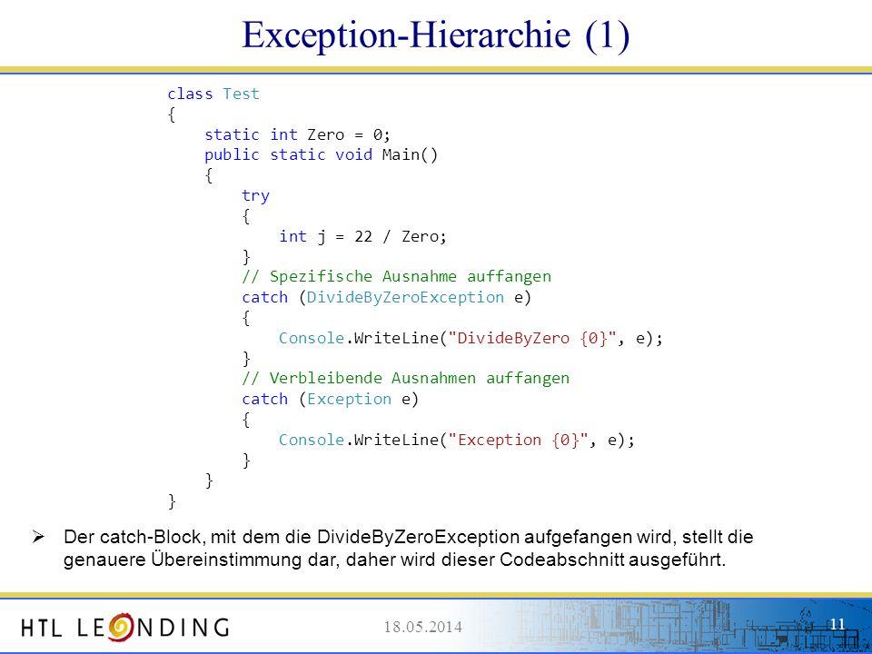 18.05.201411 18.05.2014 11 Exception-Hierarchie (1) class Test { static int Zero = 0; public static void Main() { try { int j = 22 / Zero; } // Spezif
