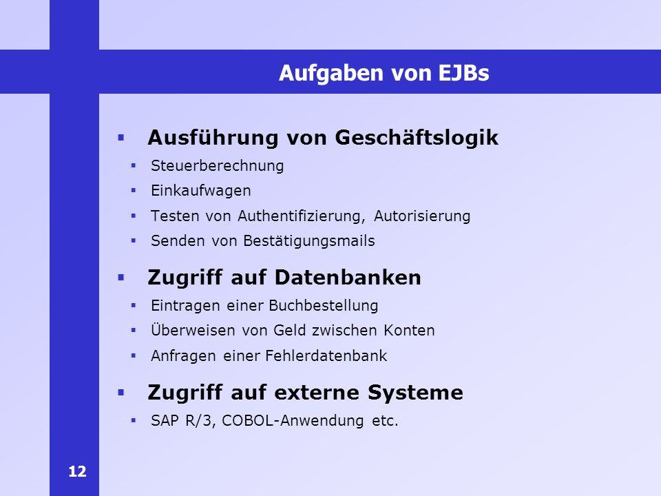 12 Aufgaben von EJBs Ausführung von Geschäftslogik Steuerberechnung Einkaufwagen Testen von Authentifizierung, Autorisierung Senden von Bestätigungsma