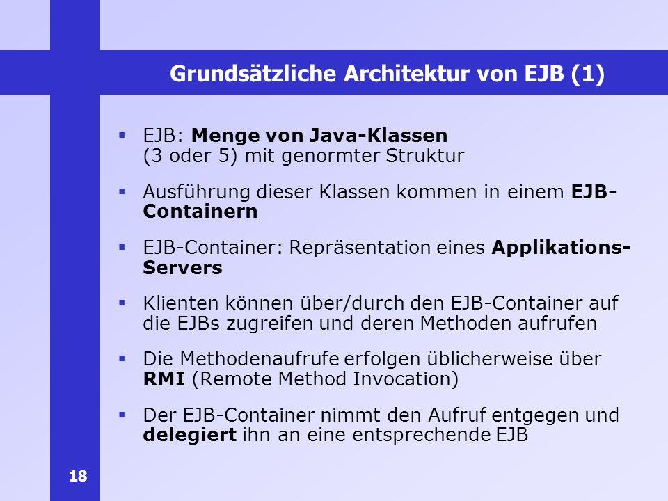 18 Grundsätzliche Architektur von EJB (1) EJB: Menge von Java-Klassen (3 oder 5) mit genormter Struktur Ausführung dieser Klassen kommen in einem EJB-