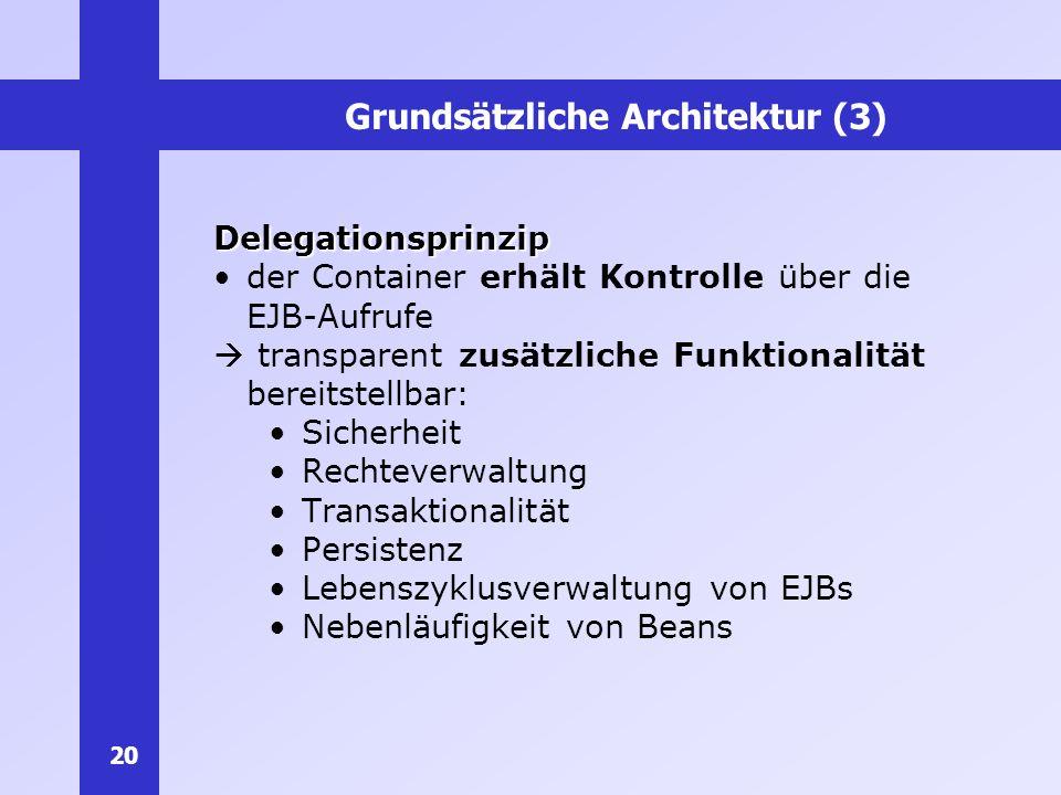 20 Grundsätzliche Architektur (3) Delegationsprinzip der Container erhält Kontrolle über die EJB-Aufrufe transparent zusätzliche Funktionalität bereit