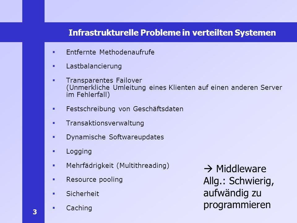 3 Infrastrukturelle Probleme in verteilten Systemen Entfernte Methodenaufrufe Lastbalancierung Transparentes Failover (Unmerkliche Umleitung eines Kli
