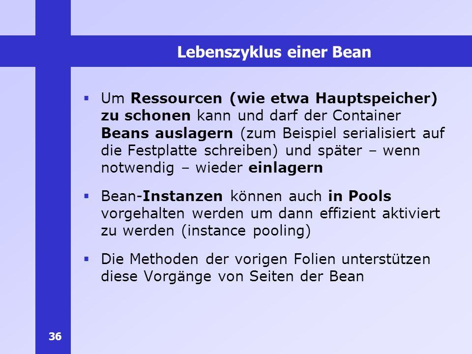 36 Lebenszyklus einer Bean Um Ressourcen (wie etwa Hauptspeicher) zu schonen kann und darf der Container Beans auslagern (zum Beispiel serialisiert au