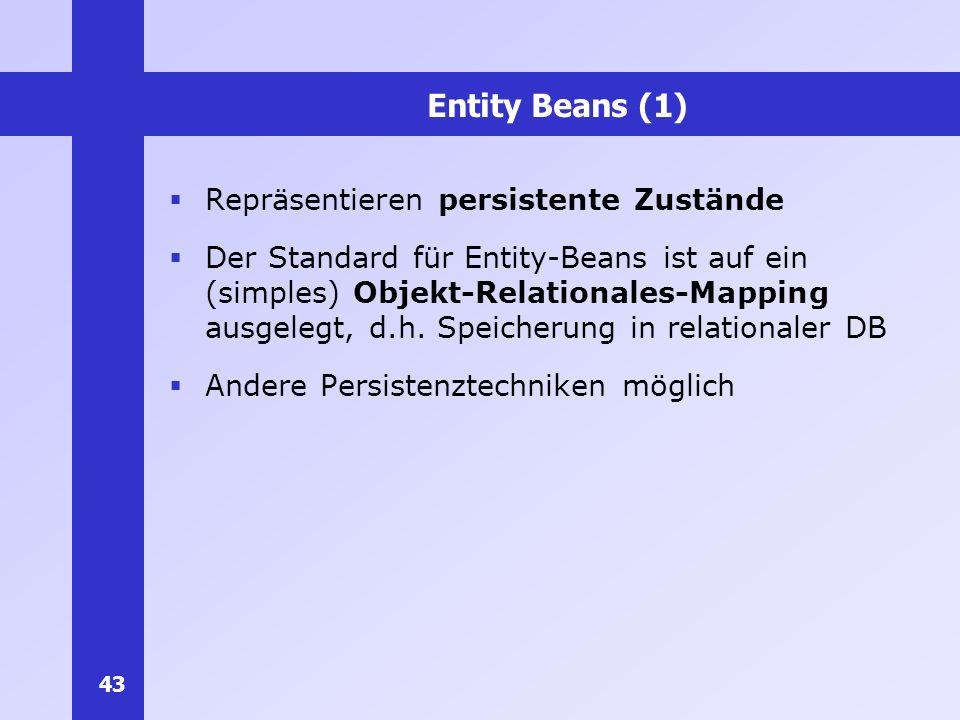 43 Entity Beans (1) Repräsentieren persistente Zustände Der Standard für Entity-Beans ist auf ein (simples) Objekt-Relationales-Mapping ausgelegt, d.h