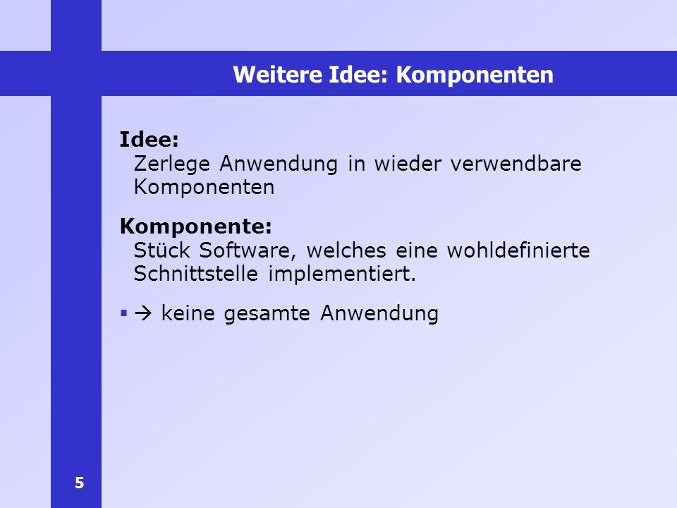 5 Weitere Idee: Komponenten Idee: Zerlege Anwendung in wieder verwendbare Komponenten Komponente: Stück Software, welches eine wohldefinierte Schnitts