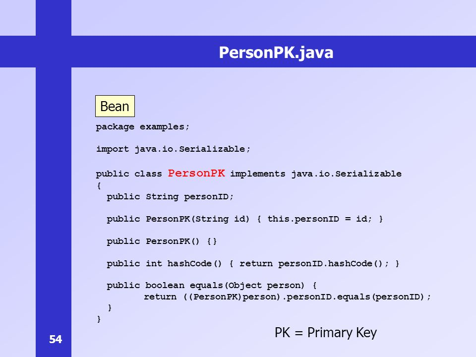 54 PersonPK.java package examples; import java.io.Serializable; public class PersonPK implements java.io.Serializable { public String personID; public PersonPK(String id) { this.personID = id; } public PersonPK() {} public int hashCode() { return personID.hashCode(); } public boolean equals(Object person) { return ((PersonPK)person).personID.equals(personID); } Bean PK = Primary Key