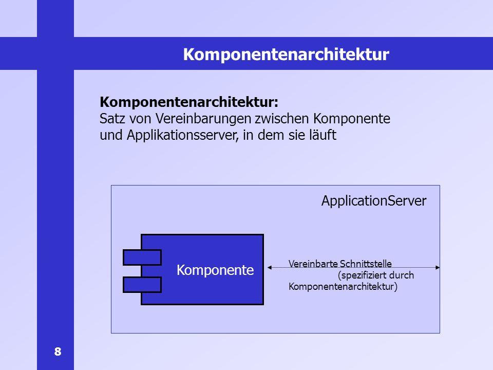 9 EJB als Komponentenarchitektur Enterprise Java Beans (EJB): Komponentenarchitektur für serverseitige Javakomponenten Enterprise Bean: Eine EJB-Komponente deployable Können in Applikationsserver geladen und ausgeführt werden Vorteile von EJB: Von Industrie standardisiert EJB-Spezifikation ist frei erhältlich (650-seitiges PDF-File) Schnellere Applikationserstellung