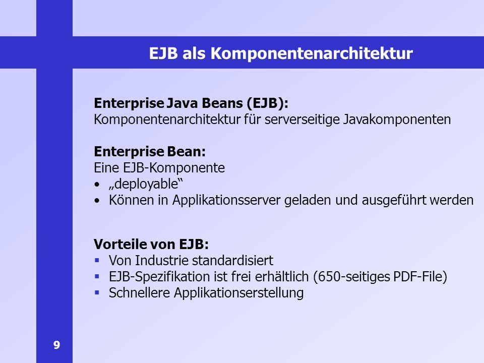30 Beispiel EJB: Hello World Komplett lauffähiger Code für EJB und aufrufenden Klient Implementiert als stateless Session-Bean (zustandslos, nicht persistent) Liefert den String Hello, World.