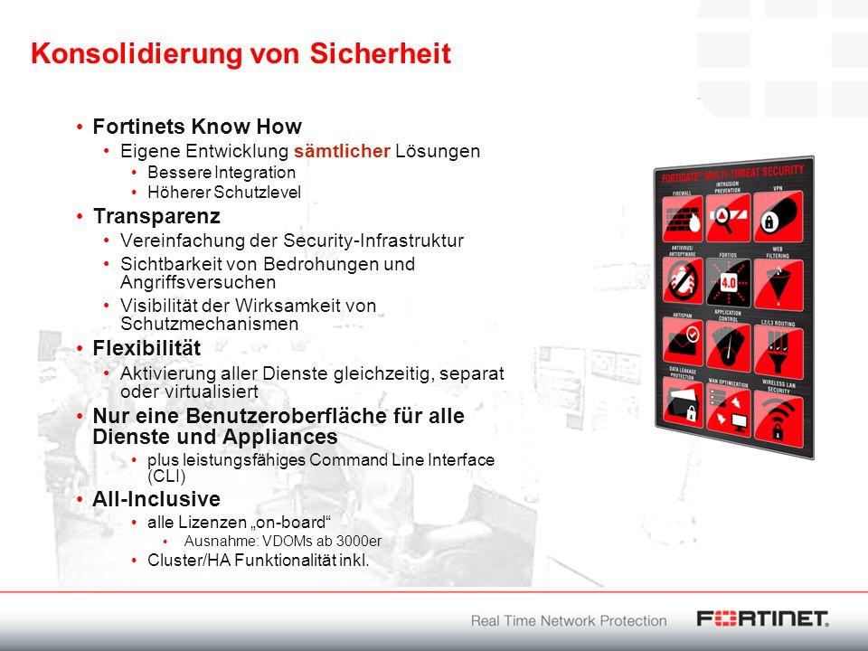 Konsolidierung von Sicherheit Fortinets Know How Eigene Entwicklung sämtlicher Lösungen Bessere Integration Höherer Schutzlevel Transparenz Vereinfach