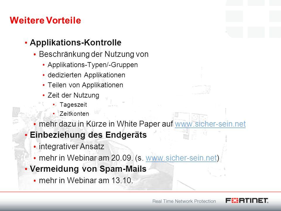 Weitere Vorteile Applikations-Kontrolle Beschränkung der Nutzung von Applikations-Typen/-Gruppen dedizierten Applikationen Teilen von Applikationen Ze