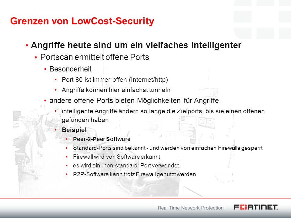 Grenzen von LowCost-Security Angriffe heute sind um ein vielfaches intelligenter Portscan ermittelt offene Ports Besonderheit Port 80 ist immer offen