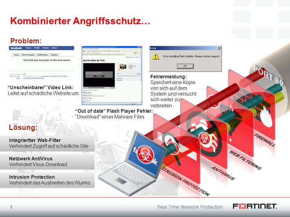 Kombinierter Angriffsschutz… 8 Unscheinbarer Video Link: Leitet auf schädliche Website um Integriertter Web-Filter Verhindert Zugriff auf schädliche S