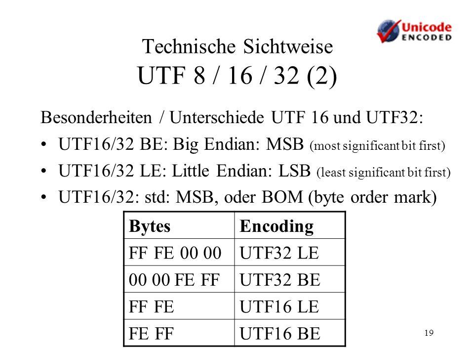 19 Technische Sichtweise UTF 8 / 16 / 32 (2) Besonderheiten / Unterschiede UTF 16 und UTF32: UTF16/32 BE: Big Endian: MSB (most significant bit first)