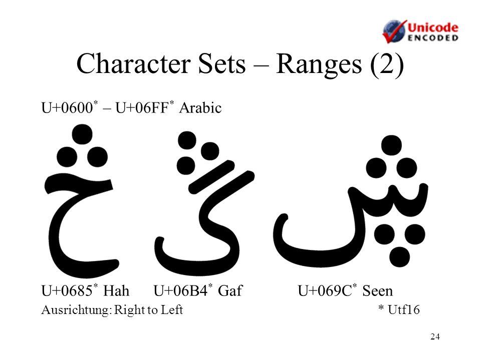 24 Character Sets – Ranges (2) U+0600 * – U+06FF * Arabic U+0685 * Hah U+06B4 * Gaf U+069C * Seen Ausrichtung: Right to Left* Utf16