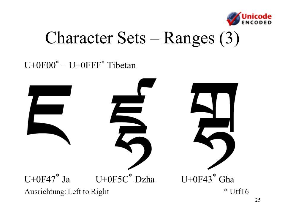 25 Character Sets – Ranges (3) U+0F00 * – U+0FFF * Tibetan U+0F47 * Ja U+0F5C * Dzha U+0F43 * Gha Ausrichtung: Left to Right* Utf16