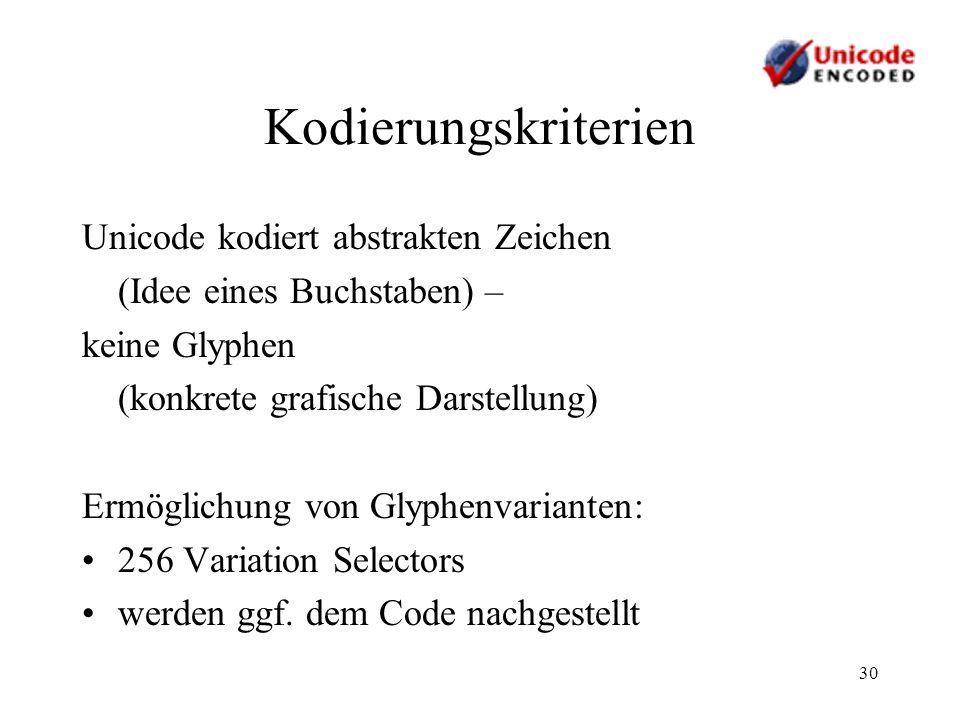 30 Kodierungskriterien Unicode kodiert abstrakten Zeichen (Idee eines Buchstaben) – keine Glyphen (konkrete grafische Darstellung) Ermöglichung von Gl