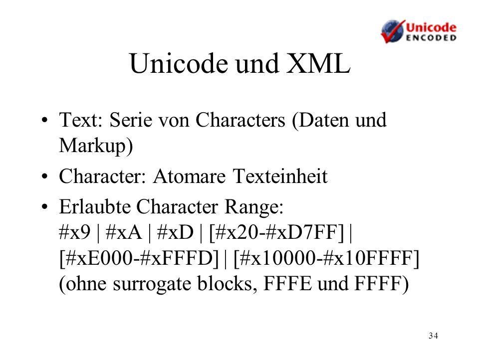 34 Unicode und XML Text: Serie von Characters (Daten und Markup) Character: Atomare Texteinheit Erlaubte Character Range: #x9 | #xA | #xD | [#x20-#xD7