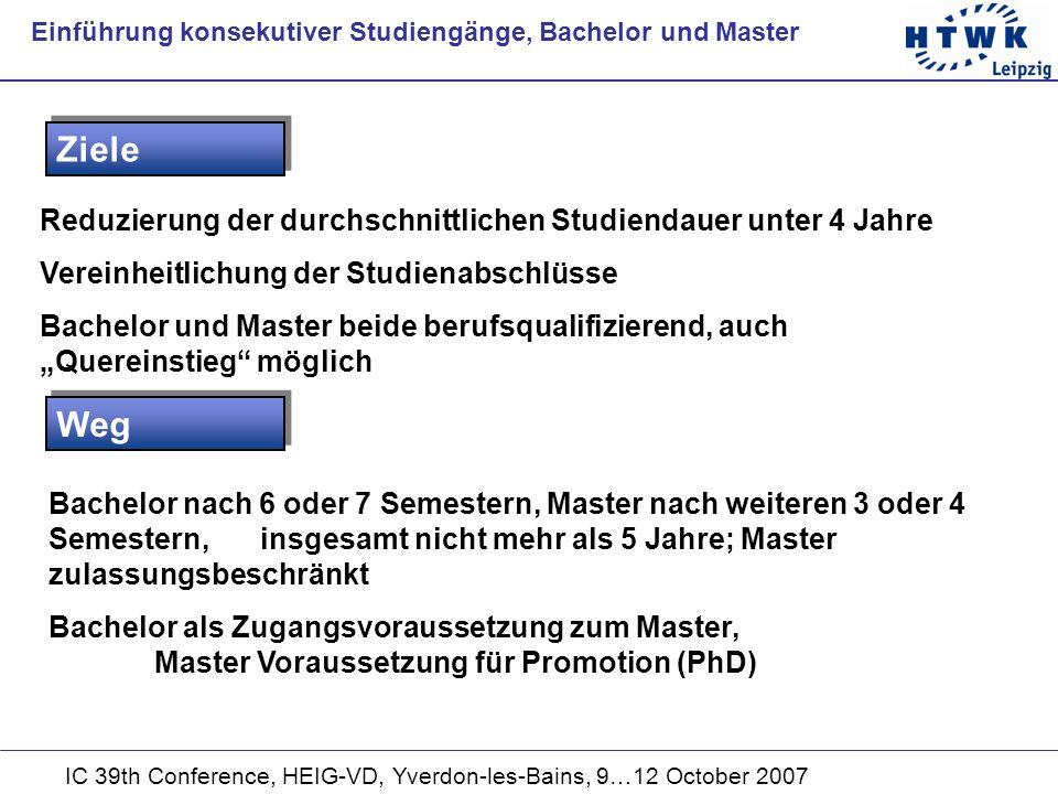 IC 39th Conference, HEIG-VD, Yverdon-les-Bains, 9…12 October 2007 Reduzierung der durchschnittlichen Studiendauer unter 4 Jahre Vereinheitlichung der Studienabschlüsse Bachelor und Master beide berufsqualifizierend, auch Quereinstieg möglich Ziele Einführung konsekutiver Studiengänge, Bachelor und Master Weg Bachelor nach 6 oder 7 Semestern, Master nach weiteren 3 oder 4 Semestern,insgesamt nicht mehr als 5 Jahre; Master zulassungsbeschränkt Bachelor als Zugangsvoraussetzung zum Master, Master Voraussetzung für Promotion (PhD)