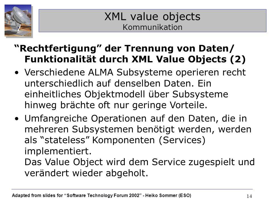 Adapted from slides for Software Technology Forum 2002 - Heiko Sommer (ESO) 14 XML value objects Kommunikation Rechtfertigung der Trennung von Daten/