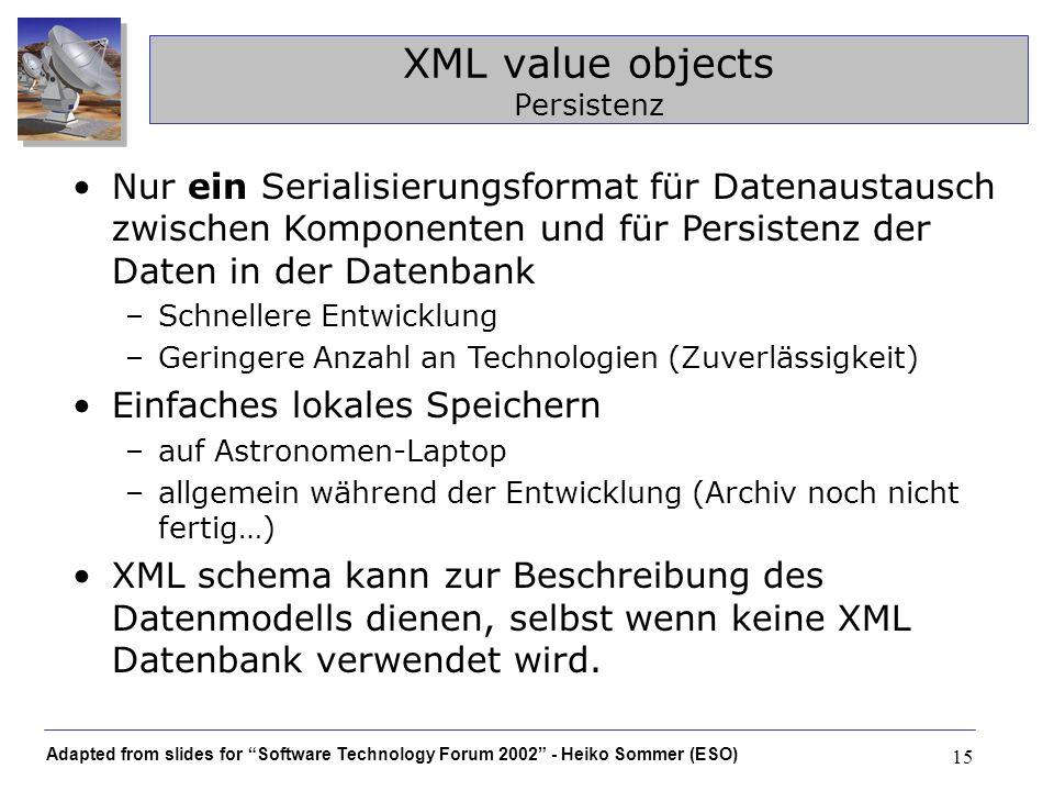 Adapted from slides for Software Technology Forum 2002 - Heiko Sommer (ESO) 15 XML value objects Persistenz Nur ein Serialisierungsformat für Datenaus