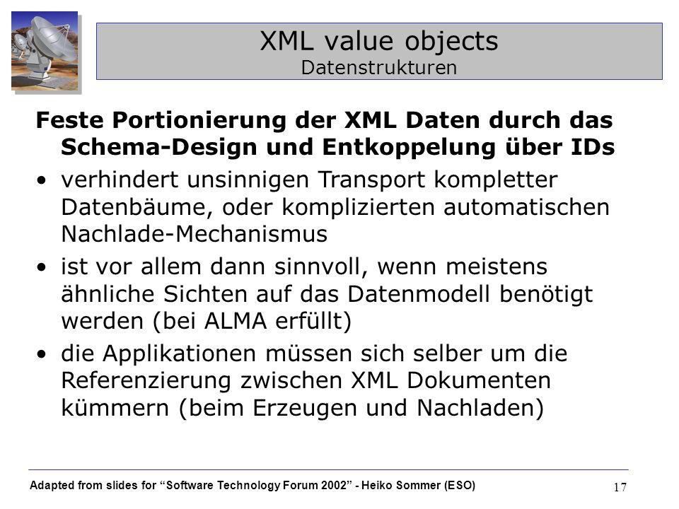 Adapted from slides for Software Technology Forum 2002 - Heiko Sommer (ESO) 17 XML value objects Datenstrukturen Feste Portionierung der XML Daten dur
