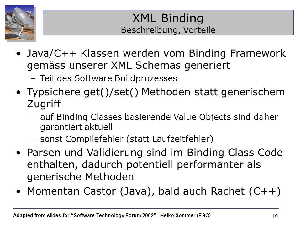 Adapted from slides for Software Technology Forum 2002 - Heiko Sommer (ESO) 19 XML Binding Beschreibung, Vorteile Java/C++ Klassen werden vom Binding