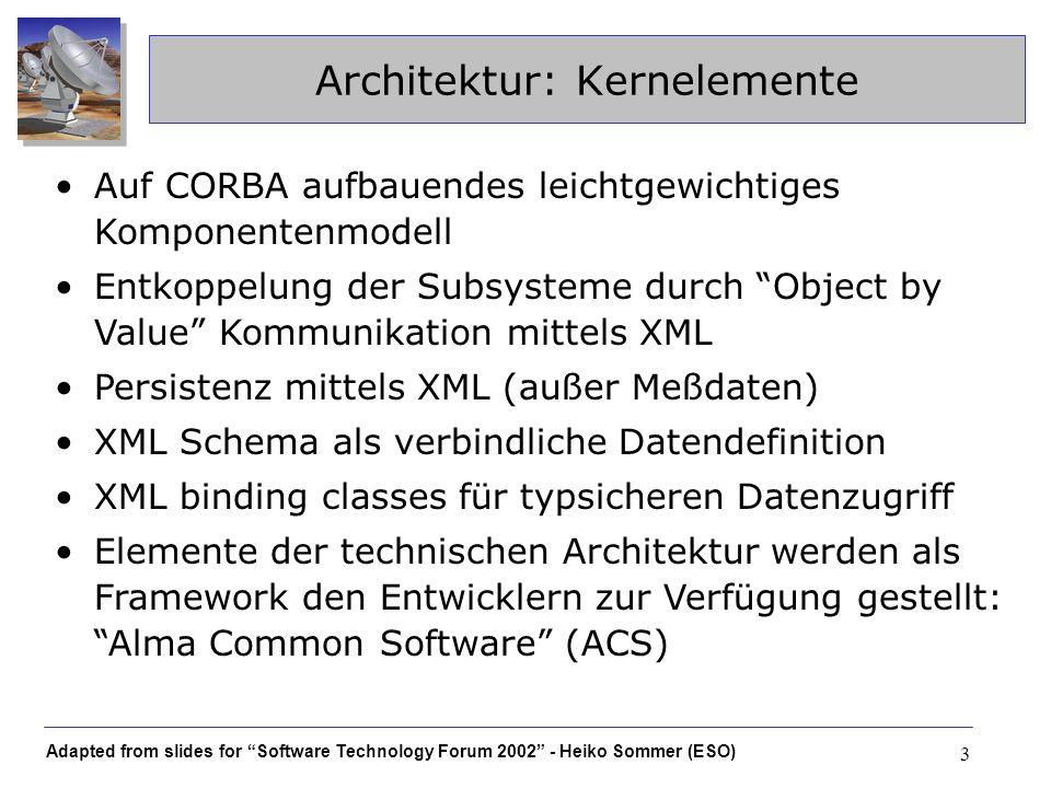 Adapted from slides for Software Technology Forum 2002 - Heiko Sommer (ESO) 24 XML Binding Erfahrungen mit dem Castor-XML Binding Framework http://www.castor.org/ –open source Projekt von Exolab –nur Castor-XML, nicht JDO und andere features Leistungsspektrum –entscheidend: xml schema statt DTD –einige wenige Schemakonstrukte werden nicht unterstützt; bislang kein Problem für ALMA –derzeit etwas langsame Weiterentwicklung Zuverlässigkeit –weniger häufig genutzte features teilweise fehlerhaft –funktionierende features blieben bislang auch stabil Selbsthilfe: patches werden dankbar akzeptiert