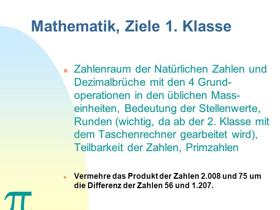Was Sie in den nächsten Minuten erwartet nZnZiele des Matheunterrichts 1. Klasse nAnArbeitsmittel nAnArbeitsinstrumente nPnPrüfungen nHnHausaufgaben n