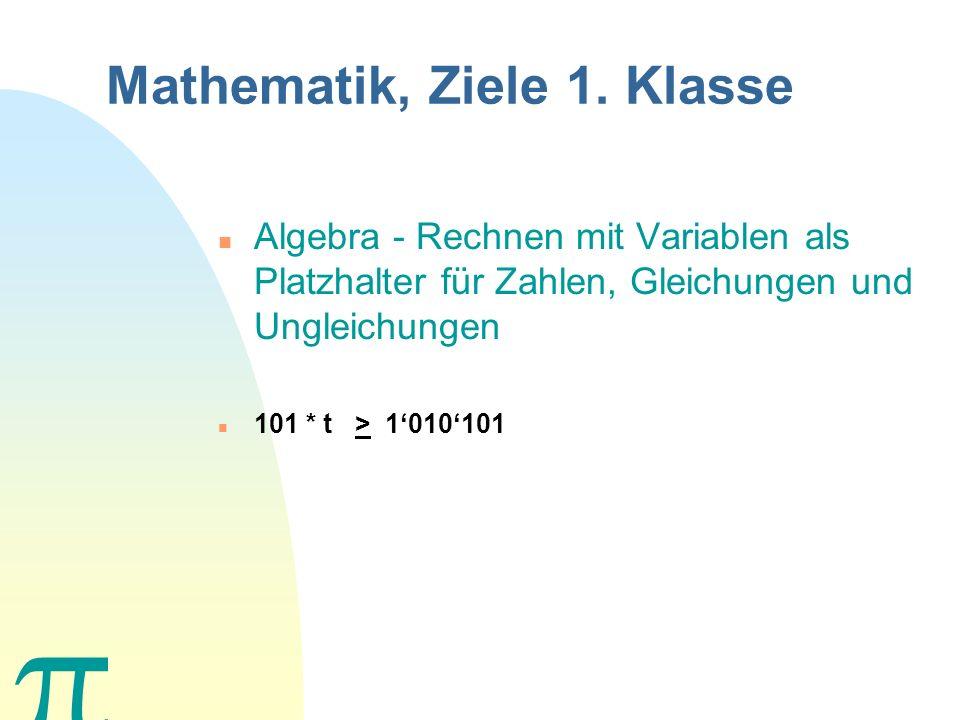 Mathematik, Ziele 1. Klasse n Zahlenraum der Natürlichen Zahlen und Dezimalbrüche mit den 4 Grund- operationen in den üblichen Mass- einheiten, Bedeut
