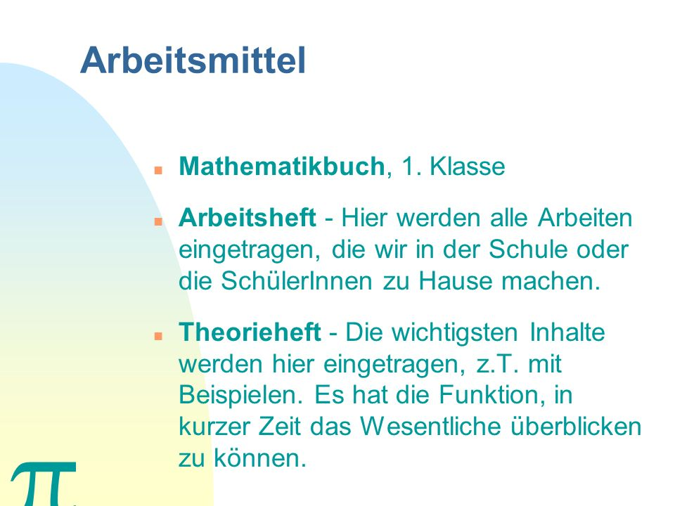 Arbeitsmittel n Mathematikbuch, 1.