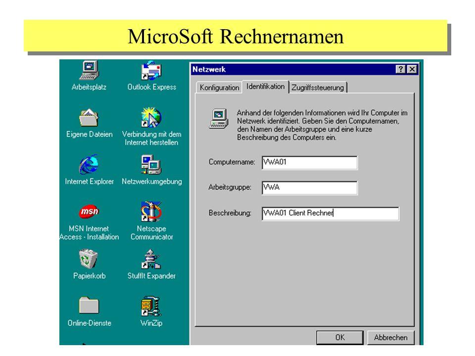 MicroSoft Rechnernamen