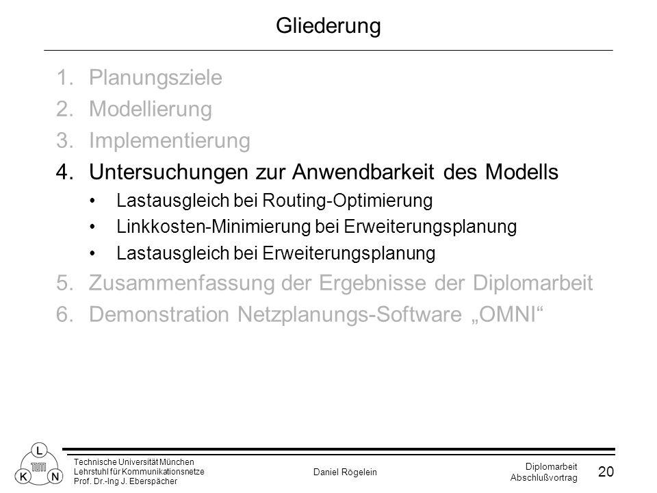 Technische Universität München Lehrstuhl für Kommunikationsnetze Prof. Dr.-Ing J. Eberspächer Daniel Rögelein Diplomarbeit Abschlußvortrag 20 Gliederu