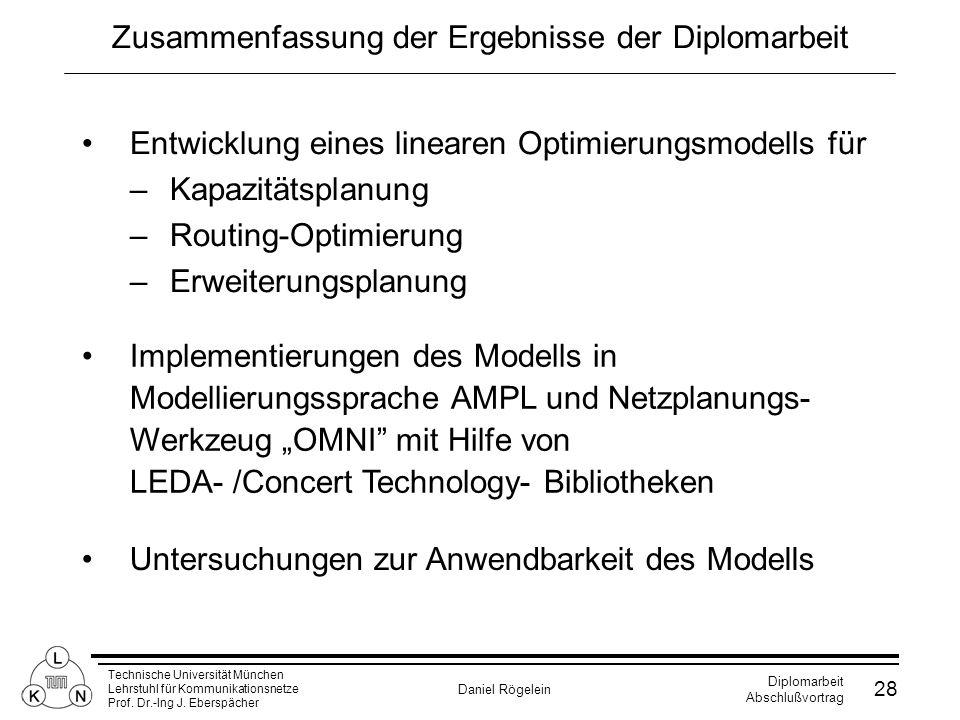 Technische Universität München Lehrstuhl für Kommunikationsnetze Prof. Dr.-Ing J. Eberspächer Daniel Rögelein Diplomarbeit Abschlußvortrag 28 Zusammen