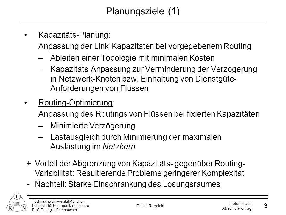 Technische Universität München Lehrstuhl für Kommunikationsnetze Prof. Dr.-Ing J. Eberspächer Daniel Rögelein Diplomarbeit Abschlußvortrag 3 Planungsz