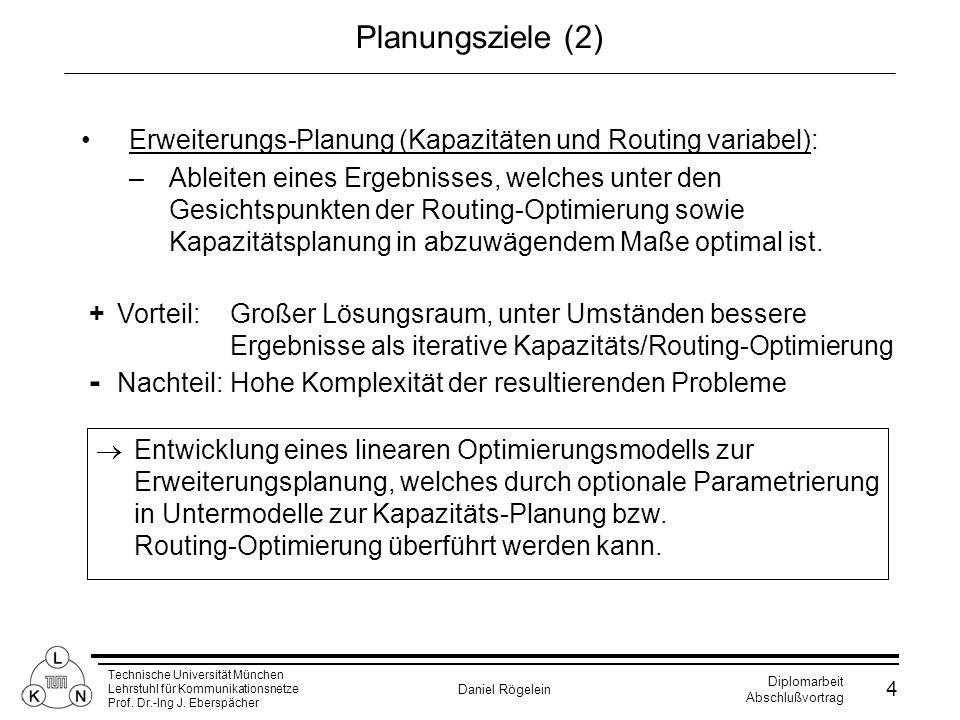 Technische Universität München Lehrstuhl für Kommunikationsnetze Prof. Dr.-Ing J. Eberspächer Daniel Rögelein Diplomarbeit Abschlußvortrag 4 Planungsz