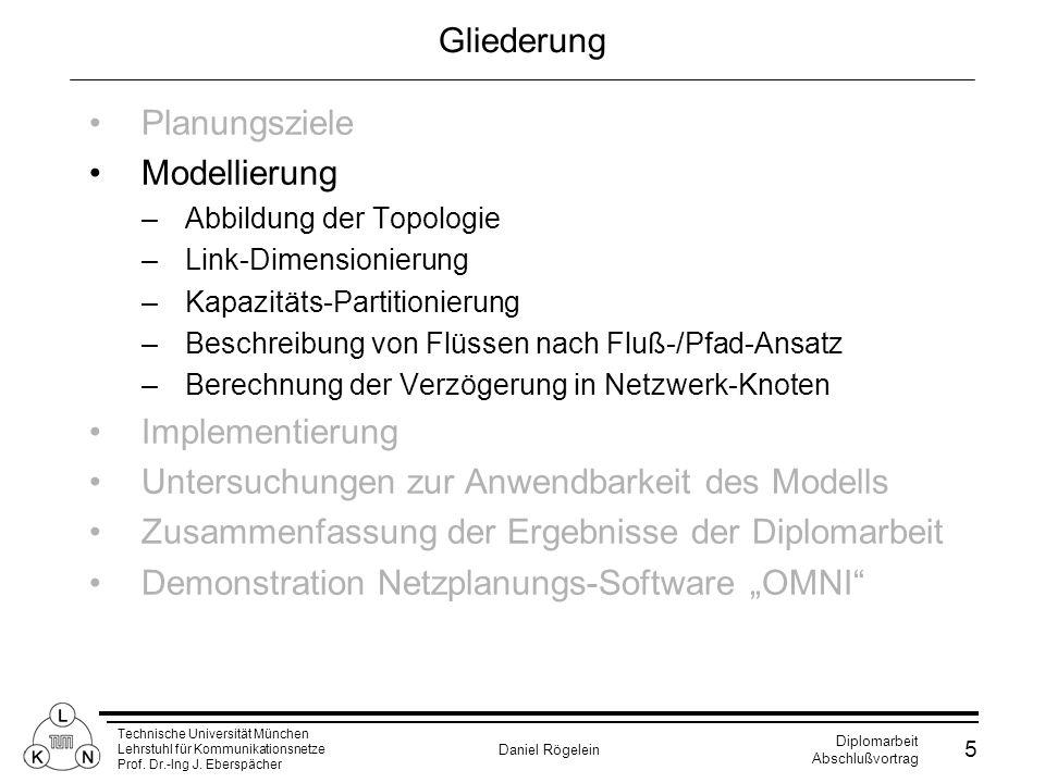 Technische Universität München Lehrstuhl für Kommunikationsnetze Prof. Dr.-Ing J. Eberspächer Daniel Rögelein Diplomarbeit Abschlußvortrag 5 Gliederun