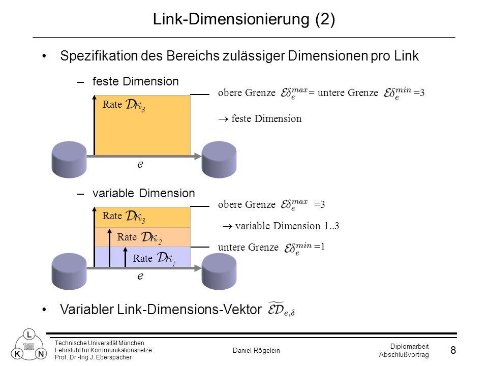 Technische Universität München Lehrstuhl für Kommunikationsnetze Prof. Dr.-Ing J. Eberspächer Daniel Rögelein Diplomarbeit Abschlußvortrag 8 Link-Dime