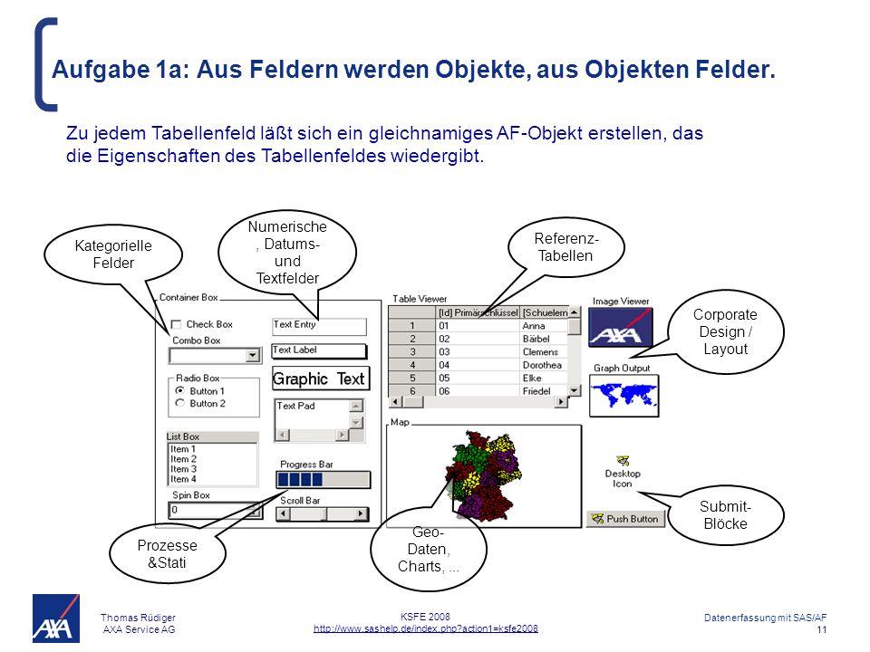 Thomas Rüdiger AXA Service AG Datenerfassung mit SAS/AF 11 KSFE 2008 http://www.sashelp.de/index.php?action1=ksfe2008 Aufgabe 1a: Aus Feldern werden Objekte, aus Objekten Felder.