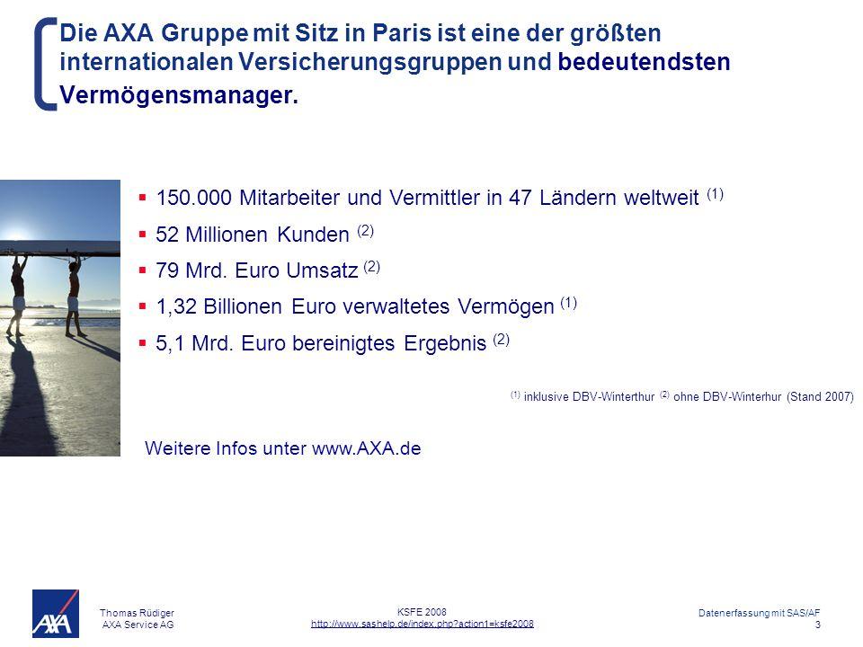 Thomas Rüdiger AXA Service AG Datenerfassung mit SAS/AF 4 KSFE 2008 http://www.sashelp.de/index.php?action1=ksfe2008 Inhaltsverzeichnis AXA Firmenreferenz Anwendungsbeispiele Gründe für SAS-AF Welche Aufgaben hat die Screen Control Language (SCL).