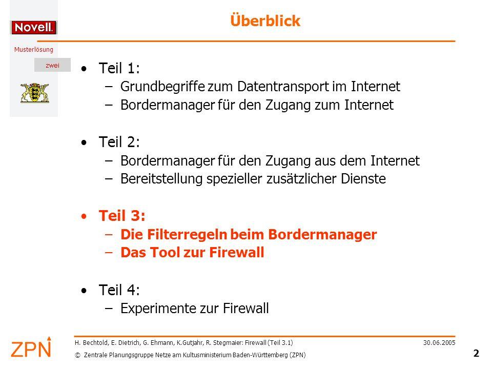 © Zentrale Planungsgruppe Netze am Kultusministerium Baden-Württemberg (ZPN) Musterlösung 30.06.2005 23 H.