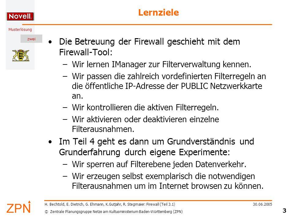 © Zentrale Planungsgruppe Netze am Kultusministerium Baden-Württemberg (ZPN) Musterlösung 30.06.2005 14 H.