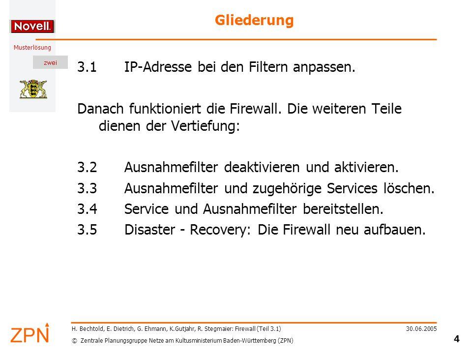© Zentrale Planungsgruppe Netze am Kultusministerium Baden-Württemberg (ZPN) Musterlösung 30.06.2005 15 H.