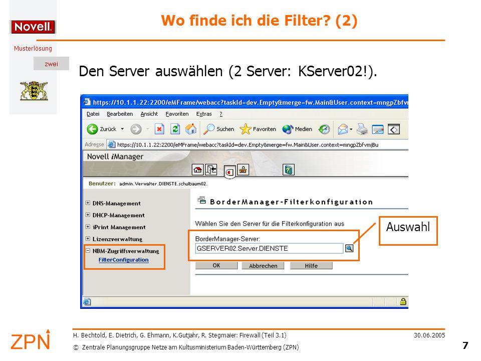© Zentrale Planungsgruppe Netze am Kultusministerium Baden-Württemberg (ZPN) Musterlösung 30.06.2005 18 H.