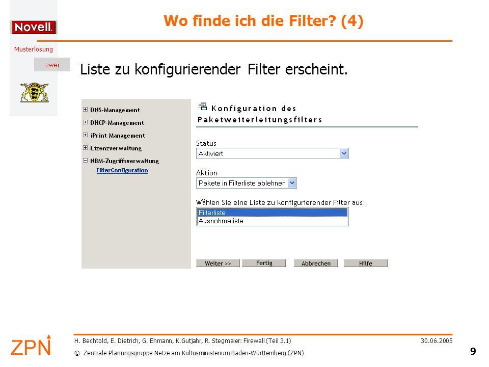 © Zentrale Planungsgruppe Netze am Kultusministerium Baden-Württemberg (ZPN) Musterlösung 30.06.2005 10 H.