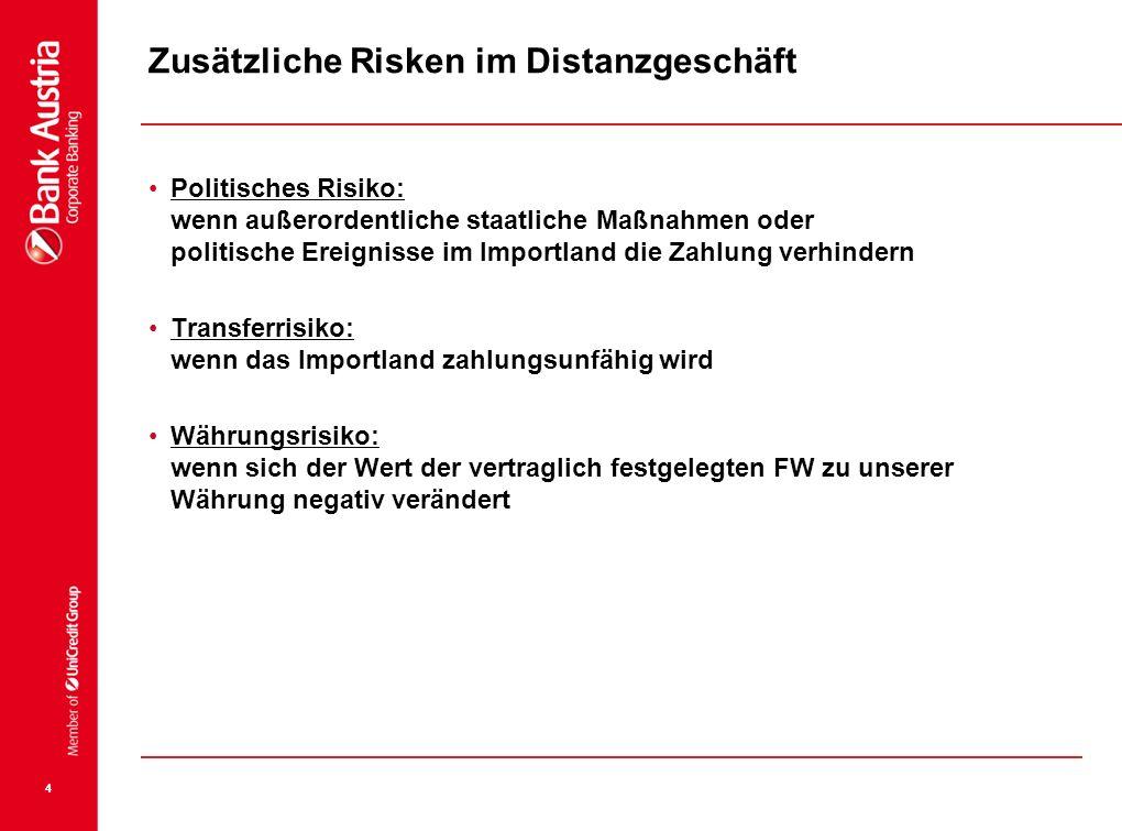 4 Zusätzliche Risken im Distanzgeschäft Politisches Risiko: wenn außerordentliche staatliche Maßnahmen oder politische Ereignisse im Importland die Za